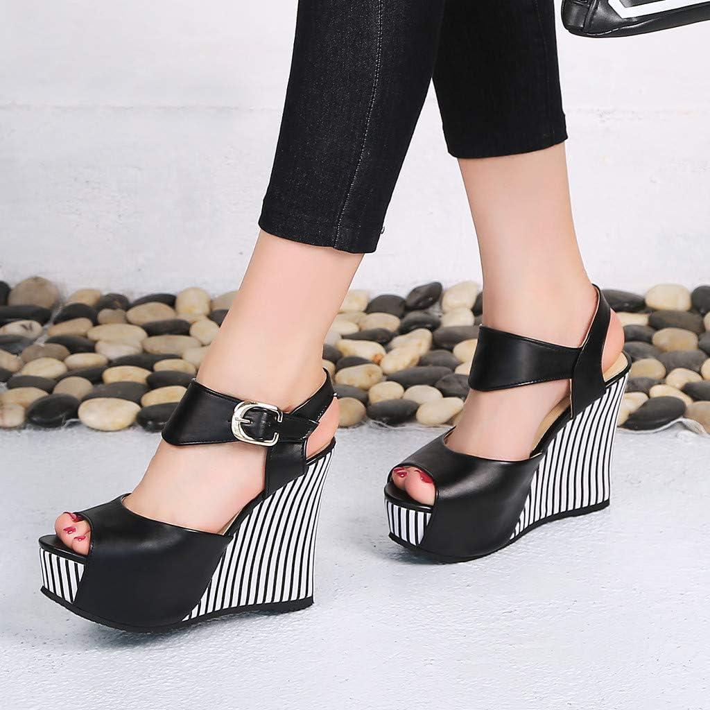 Colorblock Platform Sandals Summer Fashion Velcro Ankle Strap Outdoor Sandals Open Toe Blocks Wedges Casual Shoes for Women