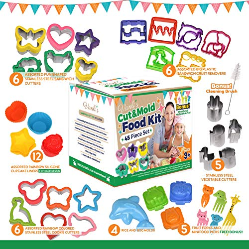 Vanli's Sandwich Cutters for Kids Bento Lunch Box | 45 Pcs in 1 Set|Includes Sandwich Crust, Vegetable & Small Cookie Cutters, Silicone Cupcake & Rice Molds, Fruit Forks, Picks & Cleaning Brush