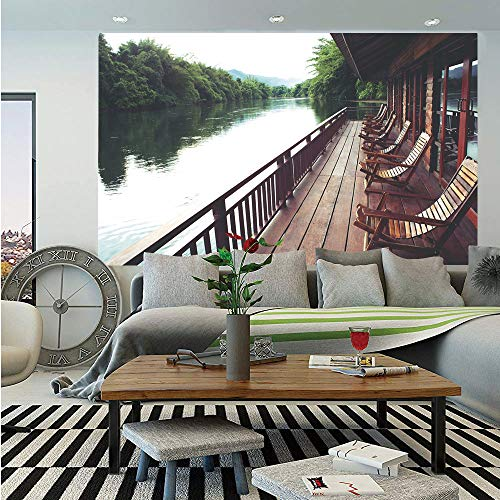 River Birch Nursery - SoSung Asian Wall Mural,Wooden Chairs in Floating Hotel on The River Kawai in Thailand Idyllic Resort Travel,Self-Adhesive Large Wallpaper for Home Decor 55x78 inches,Brown Green