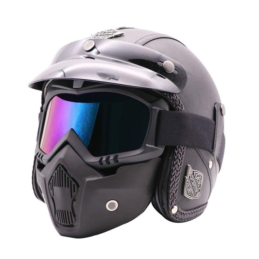 LLCP Casco De Moto Retro Hecho A Mano, Harley-Davidson Motorista Casco, Casco con Máscara, Casco De Bicicleta De Montaña,B: Amazon.es: Deportes y aire libre