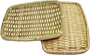 100% Handmade Woven Bamboo Flat Tray for Fruit Basket Shallow Snack Holder Food Container for Dinning Kitchen Table Perfect Decor Delicate Weaved Serving Tray (Rectangle, 24x18cm/9.5