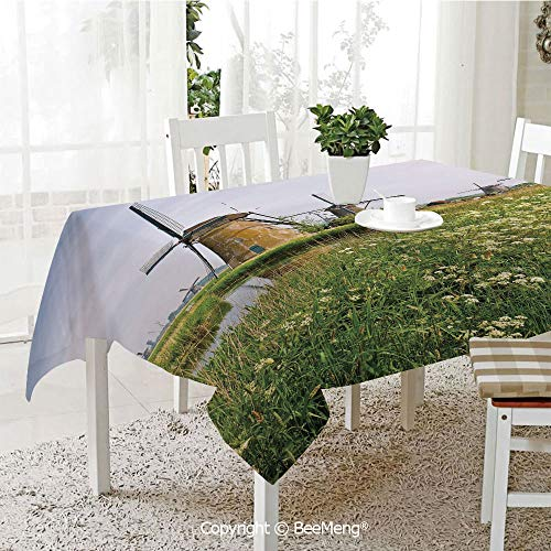 Dining Kitchen Polyester dust-Proof Table Cover,Country Landscape The Netherlands Spring Blooming Parsley Decorative,Green Light Coffee Light Blue59 x 59 inches
