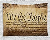 Ambesonne United States Tapestry, Vintage Constitution Text of America National Glory Fourth of July Image, Wall Hanging for Bedroom Living Room Dorm, 60 W X 40 L inches, Light Brown