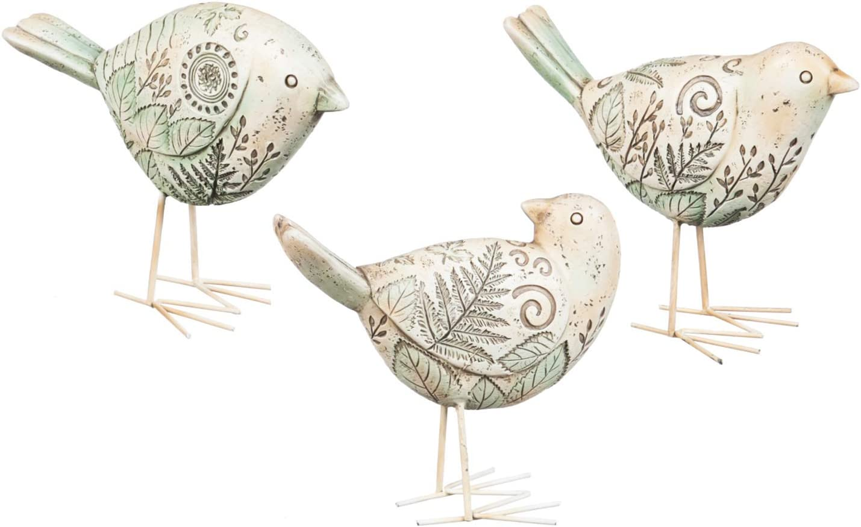 Cypress Home Sage Polystone Bird Decor, Set of 3-6 x 4 x 2 Inches