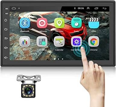 Double Din Android Car Stereo Radio with Bluetooth GPS 7 Inch HD Touchscreen in Dash Headunit FM Radio Receiver Support WiFi Dual USB Android iOS Mirror Link with Backup Camera