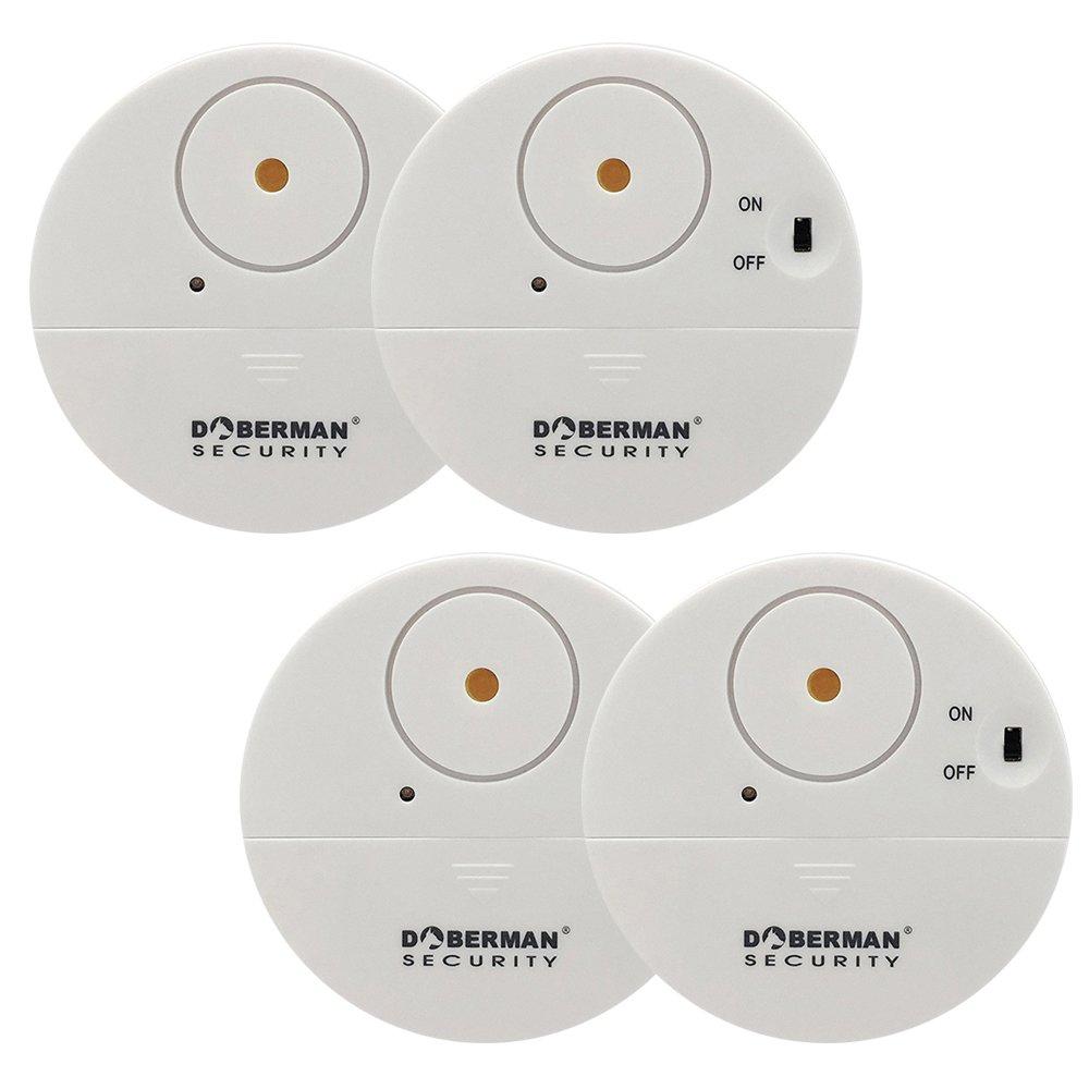 WOWSEA Ultra-Dü nner Fensteralarm Glasbruchalarm Mini-Alarmanlage Aufkleber Alarmanlage mit Erschü tterungssensor, Security Alarmsirene bis 100dB, 50m Reichweite Batteriebetrieb (4er Set, Weiss)