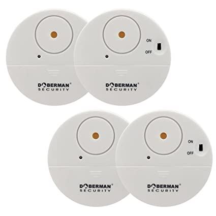 WOWSEA DOBERMAN - Alarma de seguridad para ventanas (ultrafina, 4 unidades, con alarma de 100 dB y sensores de vibración, diseño moderno y ultrafino, ...