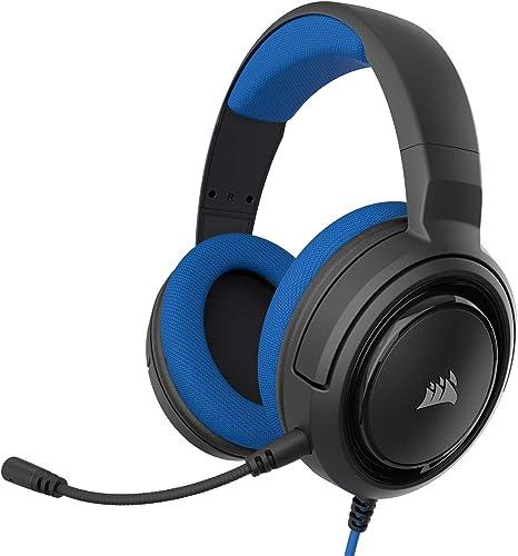 Corsair HS35 - Auriculares Stereo para Juegos (Membrana Neodimio de 50 mm, Micrófono Unidireccional Extraíble, Estructura Ligera, Compatible con Xbox One, PS4, Nintendo Switch y Móviles), Azul: Amazon.es: Informática