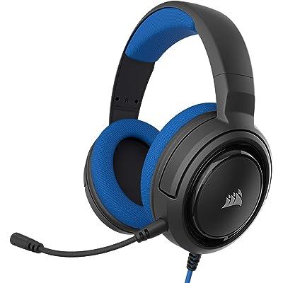 Corsair HS35 - Auriculares Stereo para Juegos (Membrana Neodimio de 50 mm, Micrófono Unidireccional Extraíble, Estructura Ligera, Compatible con Xbox One, PS4, Nintendo Switch y Móviles), Azul