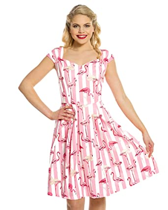 Lindy Bop Nadia Pink Flamingo Stripe Print Cotton Swing Dress Size - 22