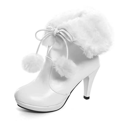 Women s High Heel Platform Lace Up Ankle Booties Outdoor Suede High-Reel  Waterproof Faux Fur Snow Boots White 10  Amazon.co.uk  Shoes   Bags 37ee7cbbb7c4