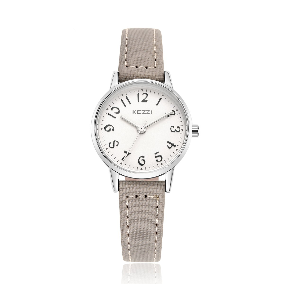 BAOSAILI Girls Quartz Watch with White Dial Analogue Display and Coffee Leather Strap (Grey)