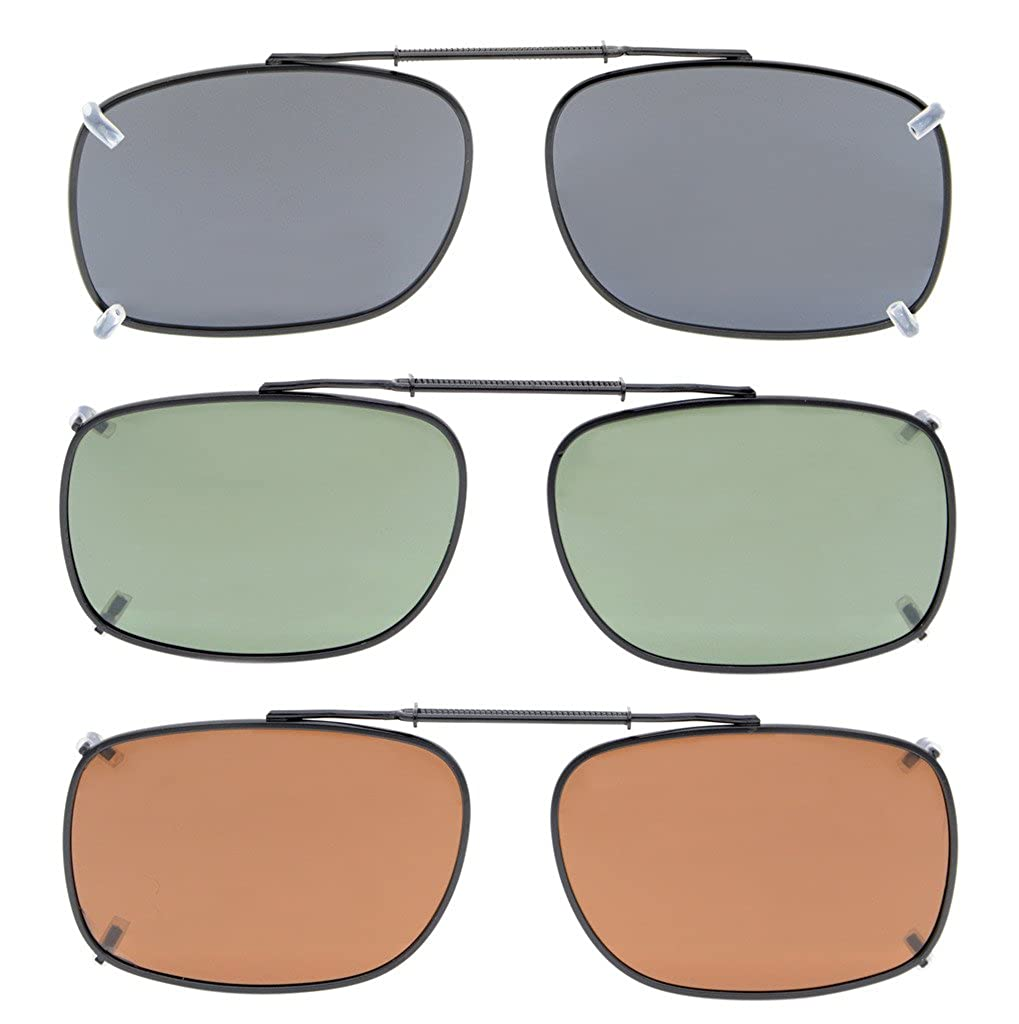 Eyekepper Grey/Brown/G15 Lens 3-pack Clip-on Polarized Sunglasses 54x37MM