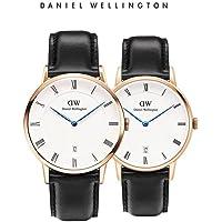 【官方授权 顺丰包邮】丹尼尔惠灵顿(Daniel Wellington)DW手表情侣对表DAPPER系列金边皮带男表+金边皮带女表(2支装) 瑞典品牌 专柜同款 …