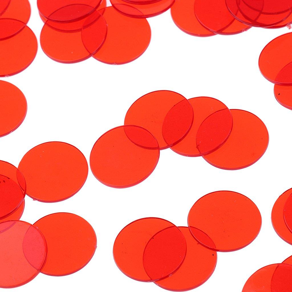 MagiDeal Bingo Chip Transl/úcido para Tarjetas Juego de Bingo 500 Piezas Rojo