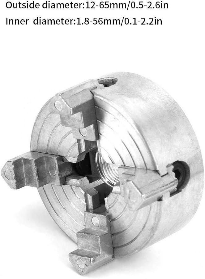 Argent Tour Chuck 4 m/âchoires de serrage en m/étal Tournage de bois Tour machine Z011a en alliage de zinc de fraisage outil de forage filet/é Retour /à la machine