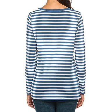 STRIR Camiseta para Mujer, Mujeres Originales Manga Larga Cuello Redondo Camiseta Básica Rayas Blusa Túnica Tops: Amazon.es: Ropa y accesorios
