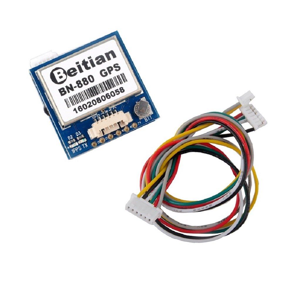 Geekstory BN-880 GPS Module U- M8030 with HMC5883 Compass + GPS Active Antenna Support GPS Glonass Beidou Car Navigation for Arduino Raspberry Pi Aircraft Pixhawk APM Flight Controller