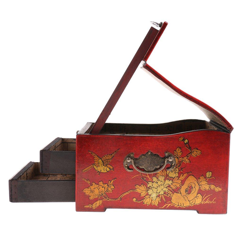 Baoblaze Vintage Jewelry Box Case Wooden Makeup Dresser Chest Cabinet Keepsake Home Decoration - Red, as described by Baoblaze (Image #9)