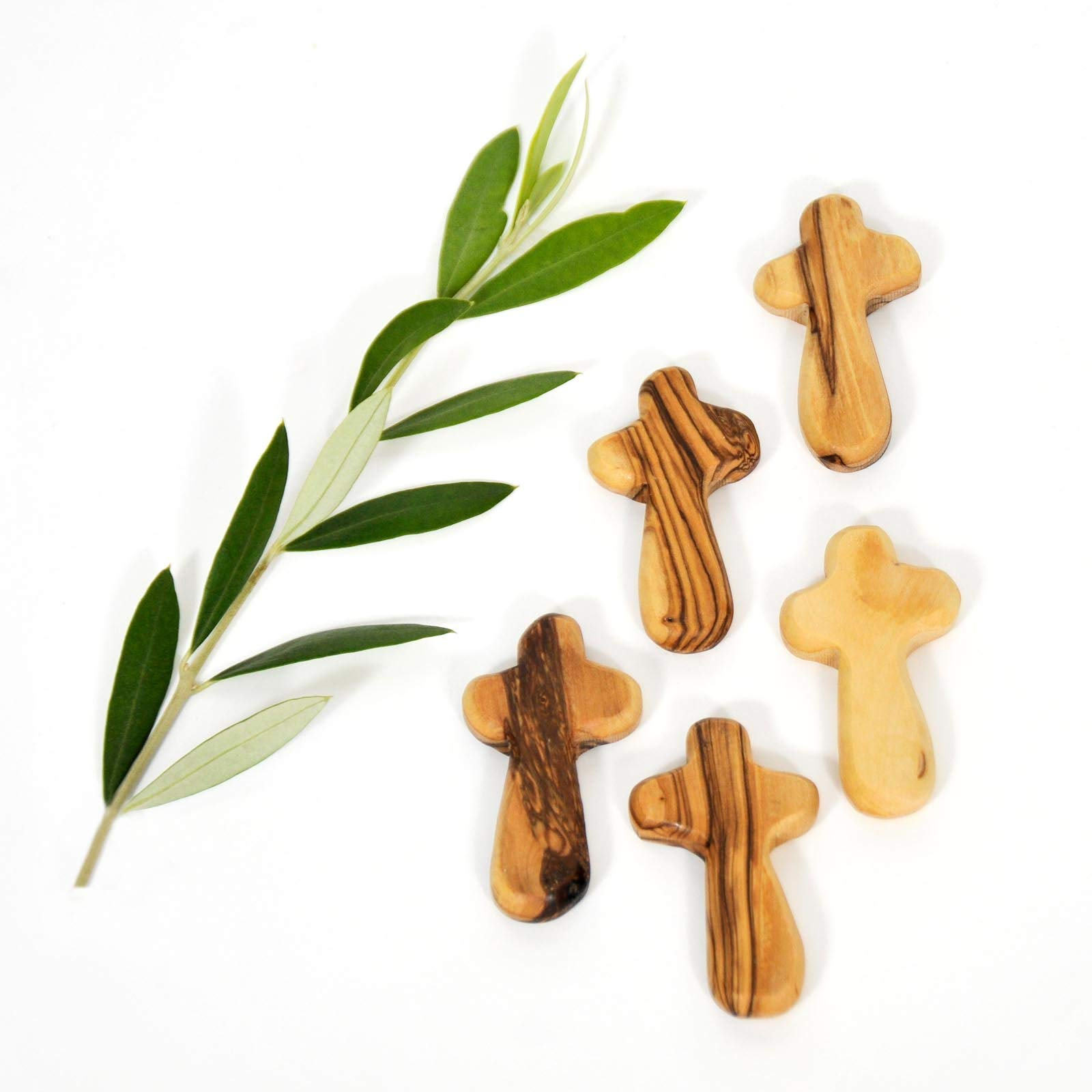 Olive Wood Small Pocket - Holding Crosses (25) by My Caring Cross (Image #3)