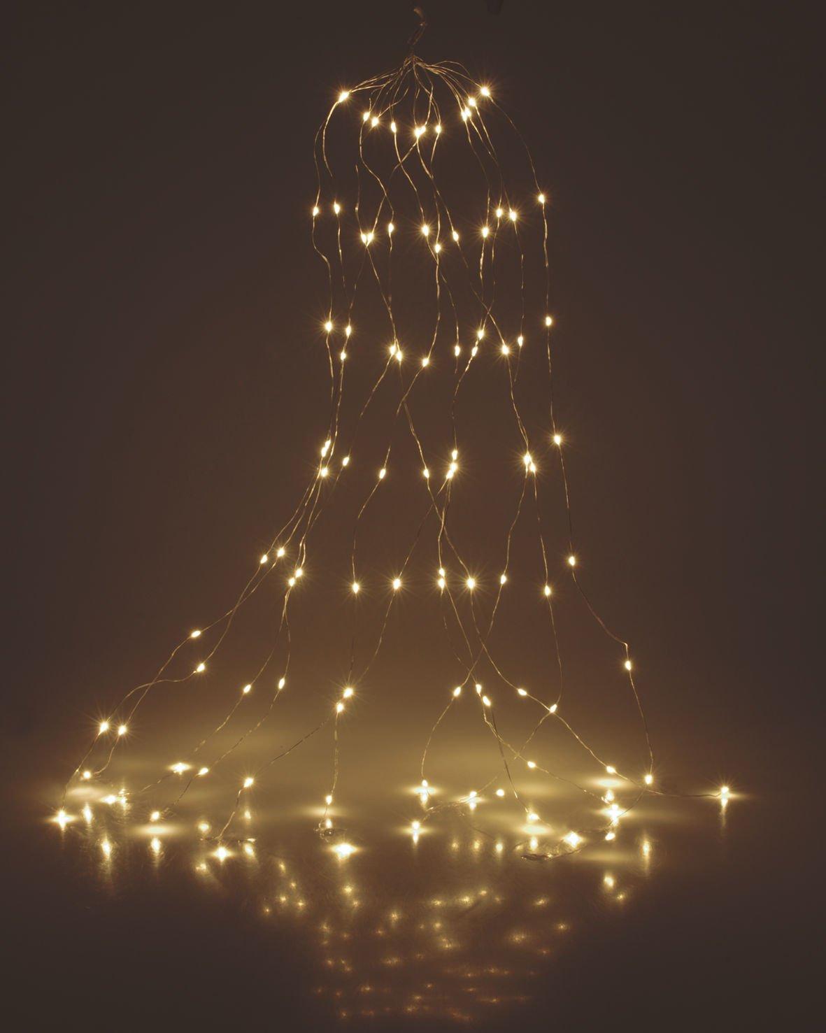 200cm LED Lichterbündel Lichterdraht Copper Light mit 360 warm ...