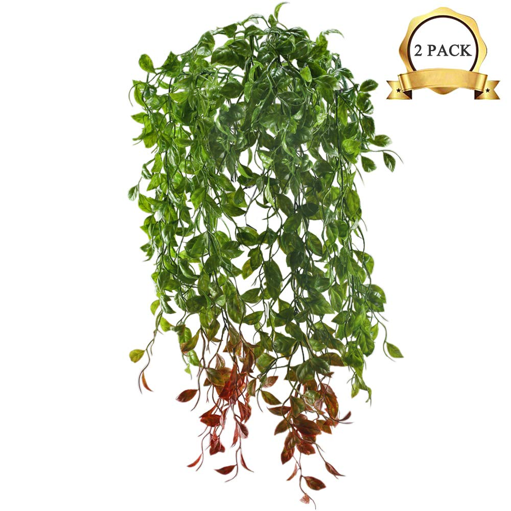 XYXCMOR Fake Hanging Vines Plants Artificial Greenery Plastic Faux Ivy Leaf for Home Garden Patio Balcony Porch Hanging Basket Bookshelf Wall Indoor Outdoor Planters Decoration 2 Bunches
