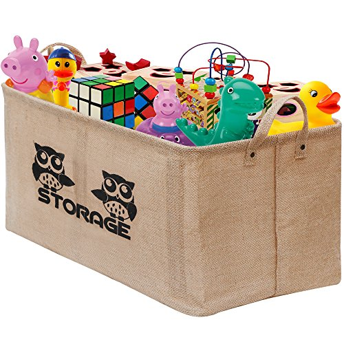 "Gimars Easy Carrying 22x15"" Well Standing Toy Chest Baskets Storage Bins for Dog Toys, Kids & Children Toys, Blankets, Clothes - Perfect for Playroom & Living Room"