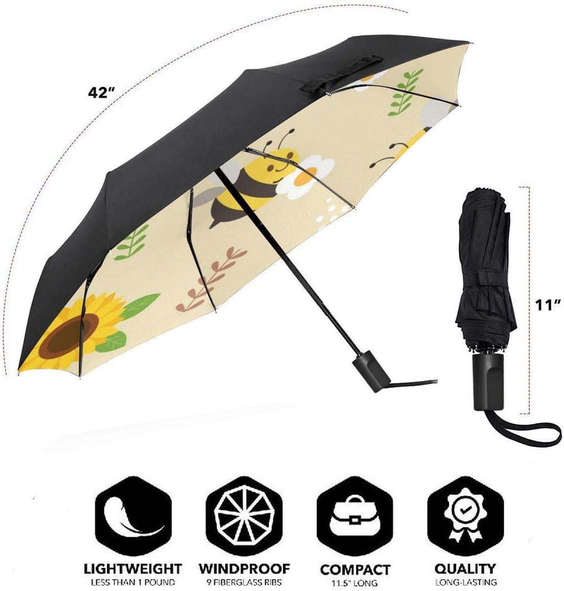 Seamless Pattern Bee Sunflower Windproof Travel Umbrella Manual Tri-fold Umbrella
