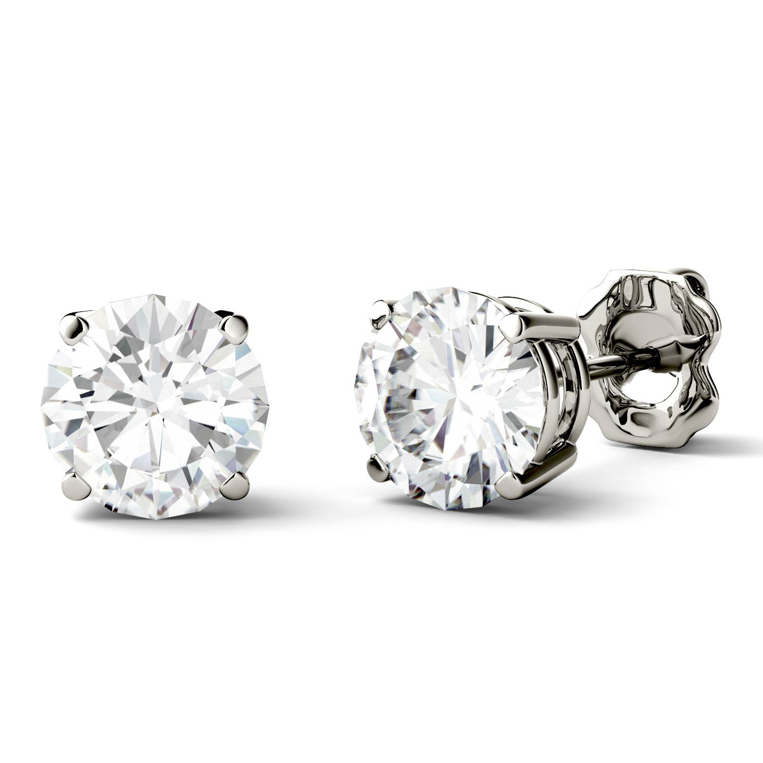 Forever One 6.5mm Round Moissanite Stud Earrings, 2.00cttw DEW By Charles & Colvard by Charles & Colvard (Image #2)