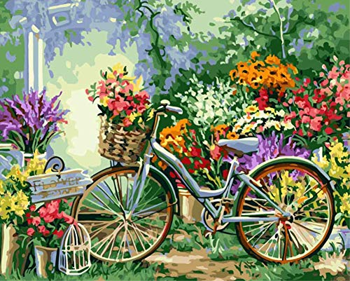 ABEUTY DIY Paint by Numbers for Adults Beginner - Flower Bicycle 16x20 inches Number Painting Anti Stress Toys (Wooden Framed) ()