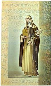 William J. Hirten Deluxe Catholic Holy Card with Traditional Prayers (Saint Catherine of Siena)