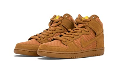 abb97789c7da Nike Mens Dunk High Premium SB Ale Brown Tour Yellow Fabric Size 12