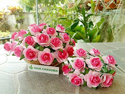 NAVA CHIANGMAI 40 pcs Rose 25-30mm Pink Mulberry Paper Flowers handmade craft project cardmaking Floral Valentine