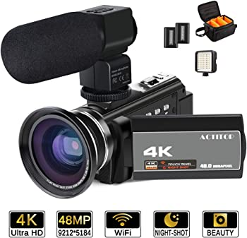 ACTITOP 4K UHD Wi-Fi Camcorder w/Microphone, Lens, Light & Bag