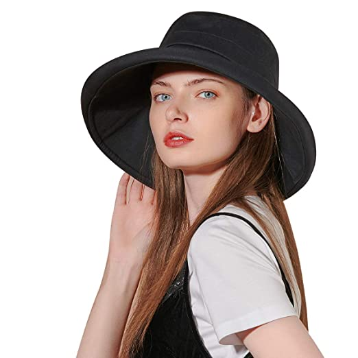 b1df7ec74 CACUSS Women Wide Brim Sun Hat Packable UPF50+ UV Protection Floppy  Foldable Roll up Summer Beach Cap