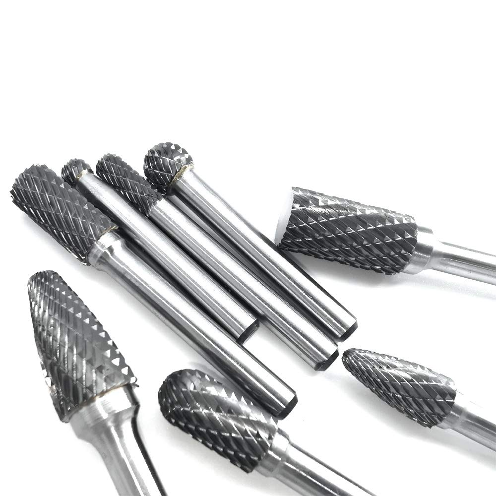 Cylindrical Cylindrical radius end Ball and Tree shape Carbide burr set bundle with YUELUTOL Double cut 8 Items Rotary File