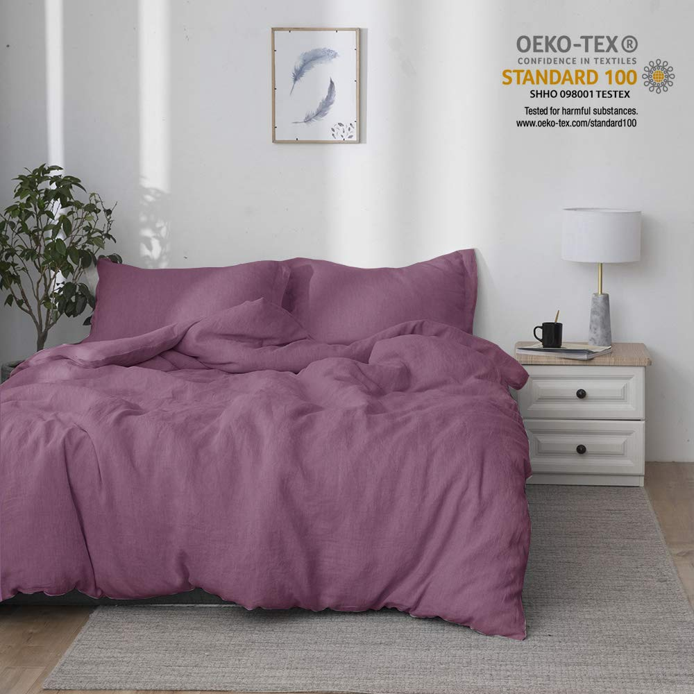 Simple&Opulence 100% Stone Washed Linen Solid Color Basic Style King Queen Twin Full Duvet Cover Sets (Purple, King