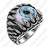 Fashion Men Stainless Steel Demon Eye Eyeball Finger Ring Size 8-11 Silver Blue#by pimchanok shop (8)