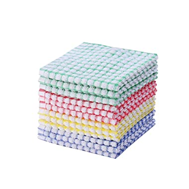 Kitchen Dishcloths 12pcs 12x12 Inches Bulk Cotton Kitchen Dish Cloths Scrubbing Wash Cloths Sets (Mix Color)