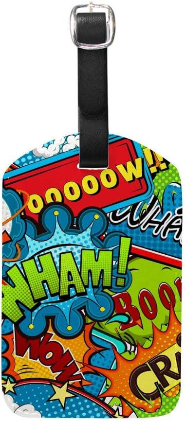 HAOXIANG - Funda para etiquetas de equipaje de piel de uretano de poli de viaje con etiquetas de identificación de sorpresa (5 x 2,8 cm) como en la imagen Two pack