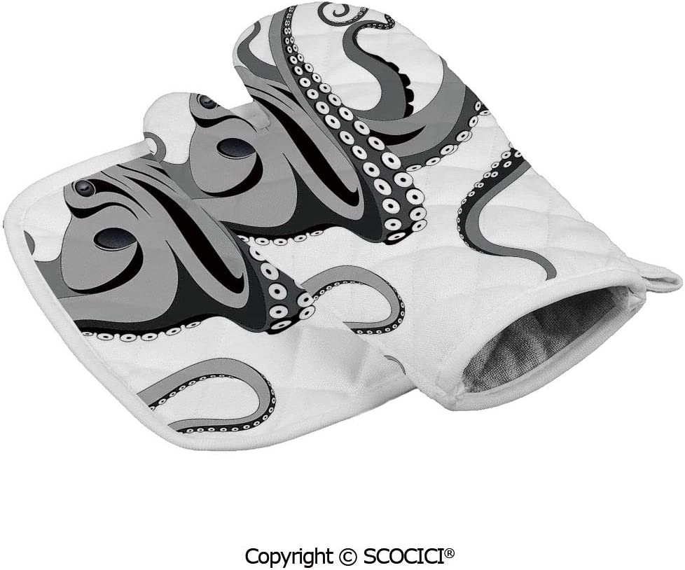 SCOCICI Oven Mitts Glove - Octopus with Large Tentacles Illustration Underwater Marine Life Heat Resistant, Handle Hot Oven Cooking Items Safely