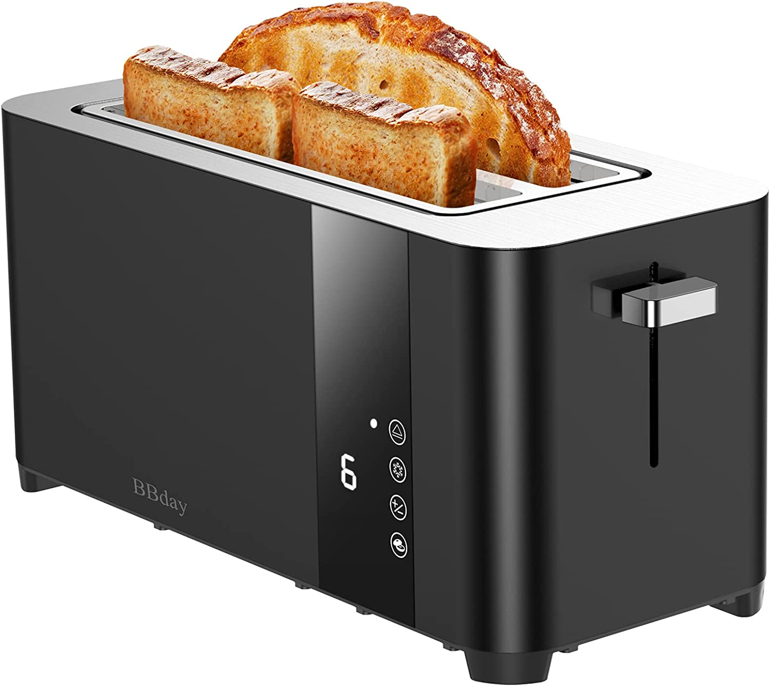BBday Long Slot Toaster, 4 Slice Extra Wide Slots Stainless Steel Toasters,with LCD Display Touchscreen ,6 Bread Shade Settings, Defrost/Bagel/Cancel, Removable Crumb Tray, 1300W,Black