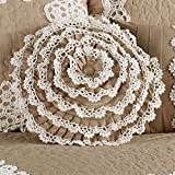 WestPoint Home Antiquity Ruffled Round Pillow Latte Round