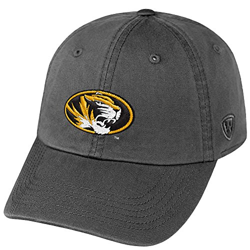 (Top of the World NCAA Missouri Tigers Men's Adjustable Hat Relaxed Fit Charcoal Icon, Charcoal)