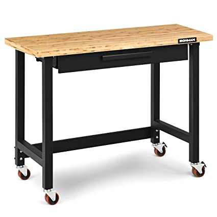 Sensational Goplus 48 Mobile Workbench Bamboo Tabletop Workstation With Two Lockable Casters Sliding Organizer Drawer Weight Capacity 500 Lbs Multipurpose Ibusinesslaw Wood Chair Design Ideas Ibusinesslaworg