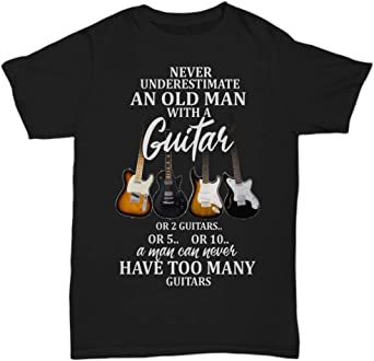 Black Never Underestimate An Old Man With A Guitar T Shirt  US Men/'s trend 2019