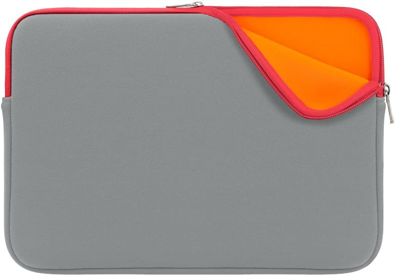 RAINYEAR 15 Inch Neoprene Laptop Sleeve Waterproof Protective Soft Slim Fit Padded Carrying Bag Cover Case Specially Compatible with 15.4 MacBook Pro Retina Touch Bar (Gray-Red)