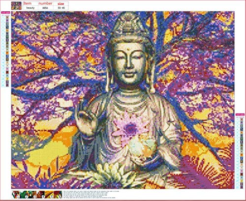 DIY Diamond Painting Kit Buddha,Painting Diamonds Full Drill 5D DIY Diamond Rhinestone Embroidery Cross Stitch Kits Supply Arts Craft Canvas Wall Decor Stickers Home Decor 22x17 inches