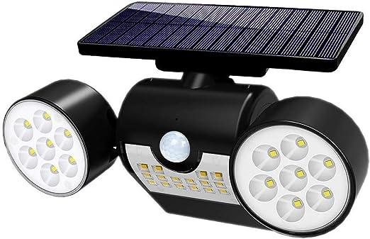 Lámpara solar de 30 LED, lámpara solar para exterior, con detector de movimiento, resistente al agua IP65, giratoria 360°, luz solar muy brillante para jardín, garaje, balcón, patio: Amazon.es: Iluminación