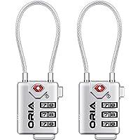 Oria TSA Luggage Locks (2 Pack), 3-Digit Combination Padlocks Number Code Locks for Travel Suitcases Luggage Bag School Gym Lockers Filing Cabinets Toolbox Case etc. -Silver